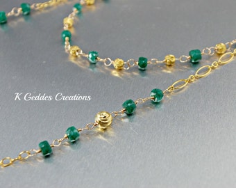 Emerald Gemstone Necklace Long Double Strand 14k Gold Fill Handmade Wire Wrapped Layering Chain Necklace May Birthstone