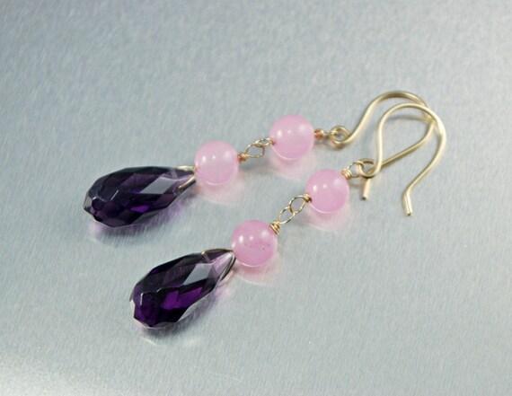 Purple Amethyst Rose Quartz Earrings 14k Gold Filled Handmade Wire Wrapped Gemstone Dangle Earrings