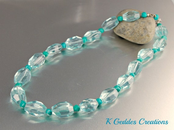 Aqua Quartz Necklace Green Turquoise Sterling Silver Handmade Beaded Gemstone Chunky Nugget Necklace