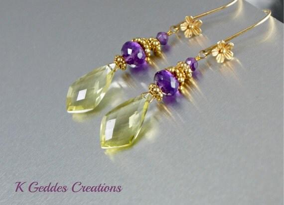 Lemon Quartz Earrings Purple Amethyst Gold Filled Earrings Gemstone Dangle Earrings Gold Flower Earrings