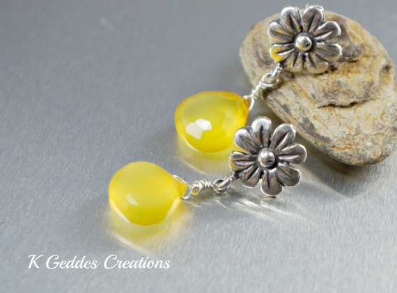 Yellow Chalcedony Earrings Bali Sterling Silver Flower Post Earrings Handmade Gemstone Dangle Earrings