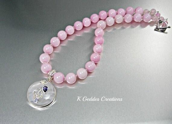 Rose Quartz Pendant Necklace Sterling Silver Handmade Unique Pink Purple Amethyst Beaded Necklace
