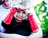 RED ARM CUFFS for Super Hero birthday gift - Superhero cape accessory