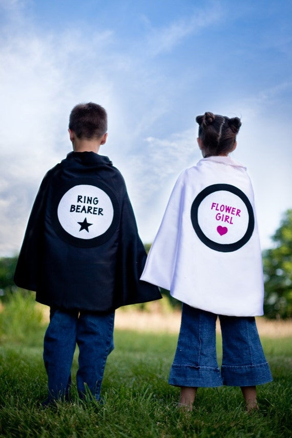 Ring Bearer Cape Personalized Name Wedding favor Black , 2T - 7T, costume, multiple colors photo prop quick ship