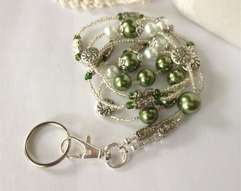 Sale!  GREEN PEARL Id Badge Lanyard  professional dressy elegant great for businesswoman nurse teacher