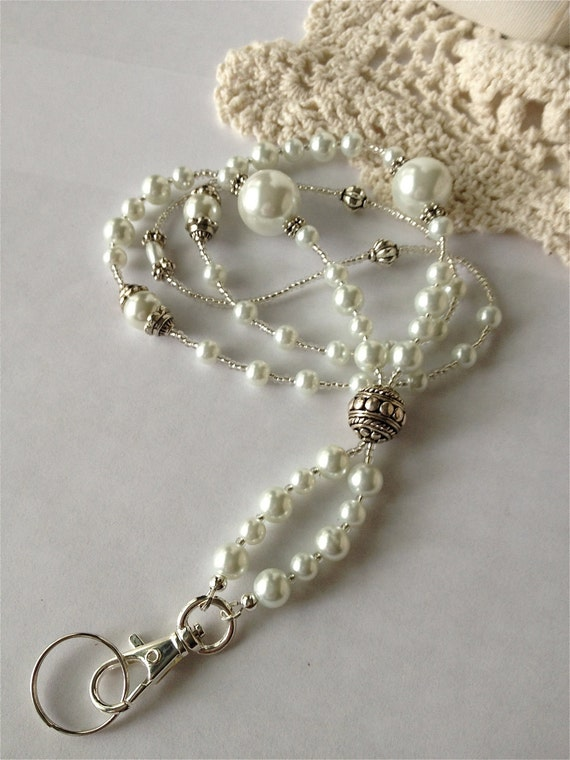 White Pearl ID BADGE Lanyard beautifully created for a petite dressy elegant professional woman
