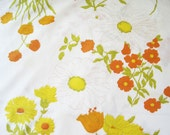 Vintage Twin Flat Floral Bed Sheet, Yellow and Orange