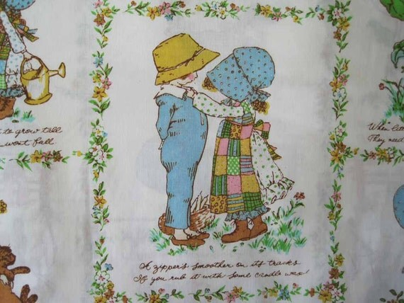 Vintage double flat bed sheet, Holly Hobbie