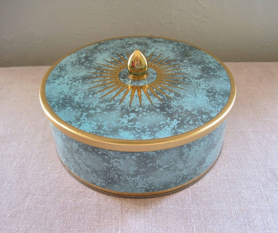 Vintage English Round Tin Container by DAHER, Teal Grey and Gold
