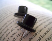 Stud Earrings-Black Top Hat