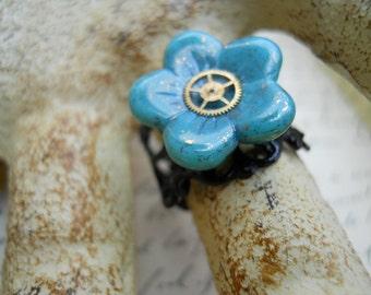 Steampunk Czech Glass and Watch Gear Ring