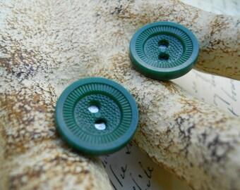 Button Earrings in Green