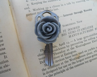 Recycled Key and Grey Rose Brooch Pin