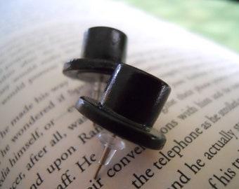 Stud Earrings-Black Top Hat