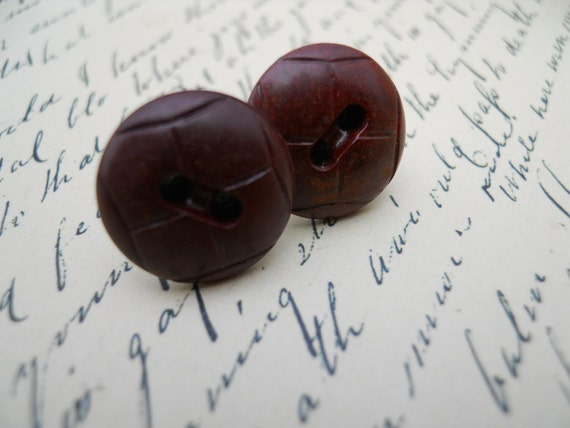 Brown Vintage Button Earrings