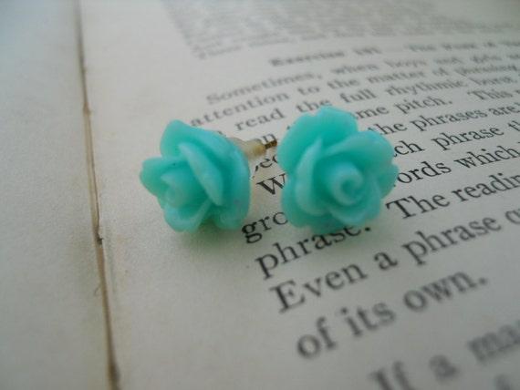 Stud Earrings-Roses-Aqua Blue