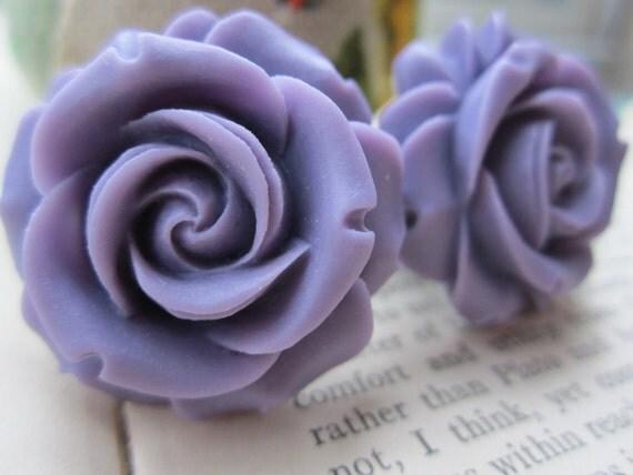 Large Bridal Plugs, Prom Plugs, Flower Plugs, Purple Roses