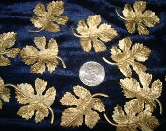 Goldtone Metal Maple Leaves 12 pcs