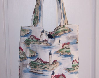 Extra Large Lighthouse Reversible Tote Bag