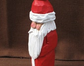 "4"" Traditional Wood Santa With Long Red Robe Wood Carving"