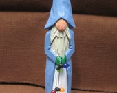 Hand Carved Wooden Santa With Blue Robe and Lights Woodcarving Christmas Decoration Decor Wood Carvers of Etsy
