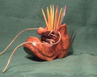 Custom Carved Wooden Old Shoe Toothpick Holder Wood Carving Old Boot Kitchenware