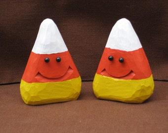 Halloween Candy Corn Wood Carving Wood Carvings  Hand Carved Halloween Decoration Autumn Decoration Halloween Decor Woodcarving