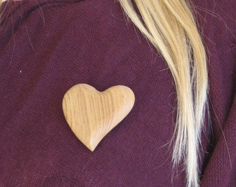 Butternut Wood Heart Pin Wood Carving Wood Hand Carved Handmade Jewelry Gift For Mom Gift For Daughter Valentines Day Gift Brooch Lapel Pin