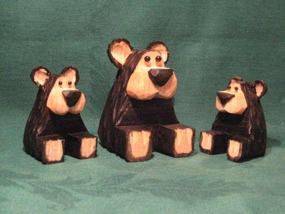 Hand Carved Handmade Bear Family Wood Carvings           Carved Wood Bears Cabin Decor