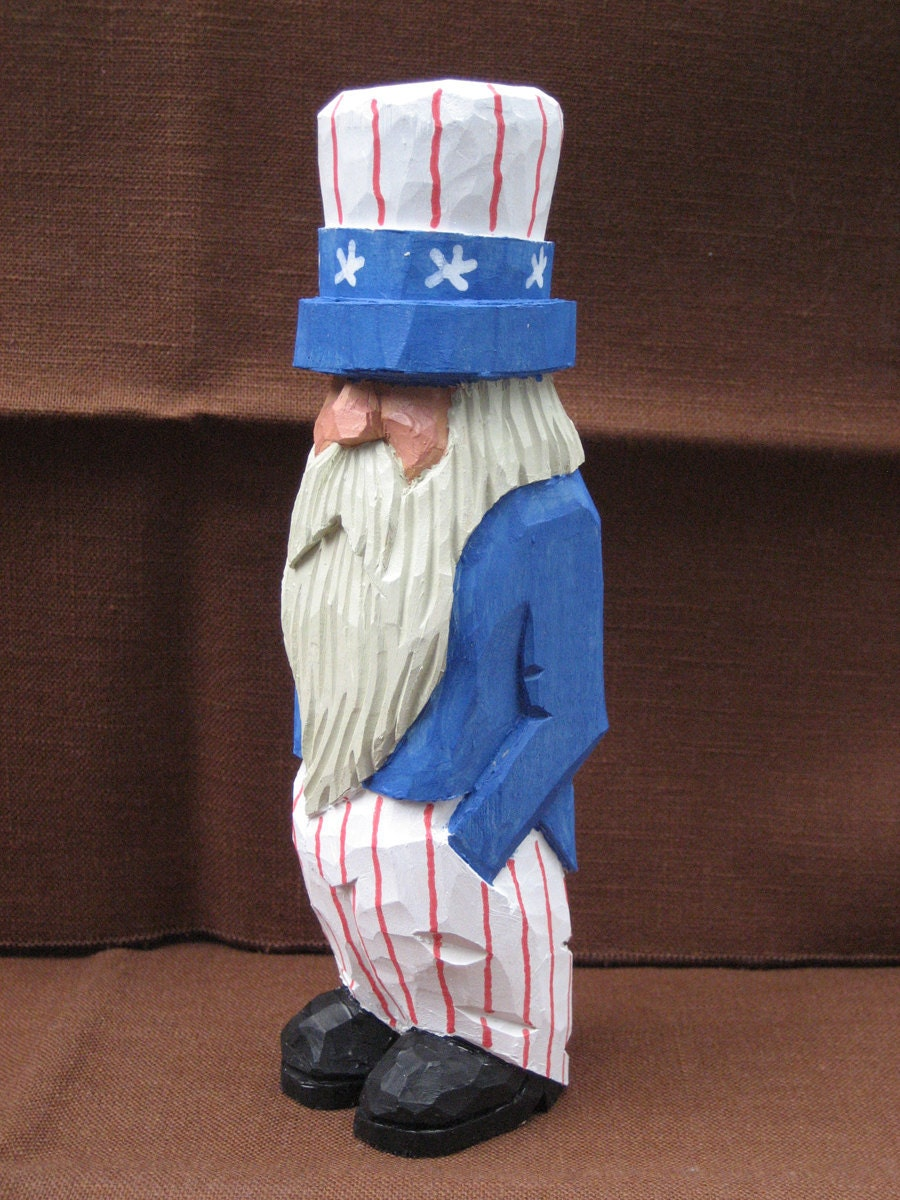 Hand Carved Handmade Old Uncle Sam Wood Carving