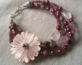Pink Flower Bracelet - Berry Pink Freshwater Pearls, Pink Tourmaline, Ruby Impression Jasper and Sterling Silver