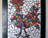 Framed Rooster Mosaic Wall Art