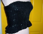 Vintage Black sequin tube top with ruffle peplum, meduim,