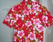 Red Hawaiian Print Men's Barkcloth shirt, Ui-Maikai