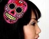 Sugar skull headband Dias de los muertos, in hot pink with red rhinestones