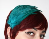 Feathered fascinator teal with black rhinestones