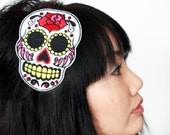 Sugar Skull Headband Dia de los Muertos, in White with Red Rhinestones