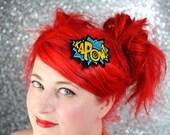 KAPOW Hair Clip, Comic Book Hair Barrette, Teal & Sunshine Yellow- Black FRiday Cyber Monday