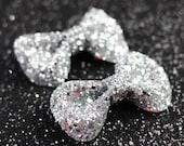 Silver Hair Clip Bows, Glitter, Hair Accessories, Cute Kawaii Bows- Black FRiday Cyber Monday