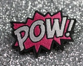 POW Hair Clip, Comic Book Hair Barrette, Hot Pink and White- Black FRiday Cyber Monday