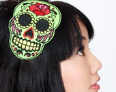 Sugar skull headband Dia de los muertos, in green with red rhinestones- Black FRiday Cyber Monday