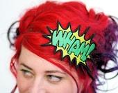 WHAM Cartoon Headband, Comic Inspired, Yellow and Green- Black FRiday Cyber Monday