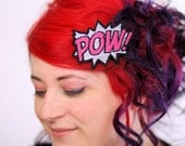Metallic POW Hair Clip, Comic Book Hair Barrette, Silver and Pink