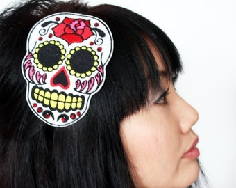SALE - Sugar Skull Headband Dia de los Muertos, in White with Red Rhinestones - Christmas In July CIJ