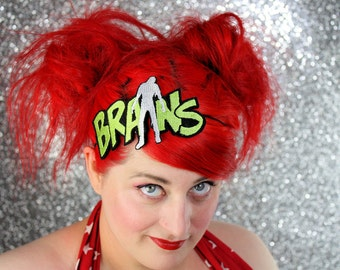 Zombie Brains Headband, Green and White or Red and White