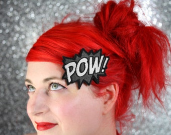 SALE - POW Hair Clip, Comic Book Hair Barrette, Grey and White - Christmas In July CIJ
