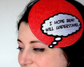 SALE - Comic Inspired Hat I Hope Brad Will Understand Red White and Black - Christmas In July CIJ