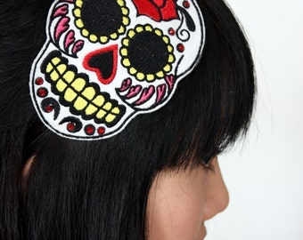 Sugar skull headband Dia de los muertos, in white with red rhinestones