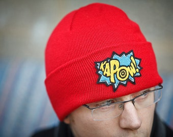 Red Beanie Cap, KAPOW, Comic Book Hat, Red Knitted Hat with Teal and Yellow Kapow