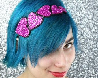 Heart Fashion Headband, Valentine, Hot Pink and Black, Other Colours Available
